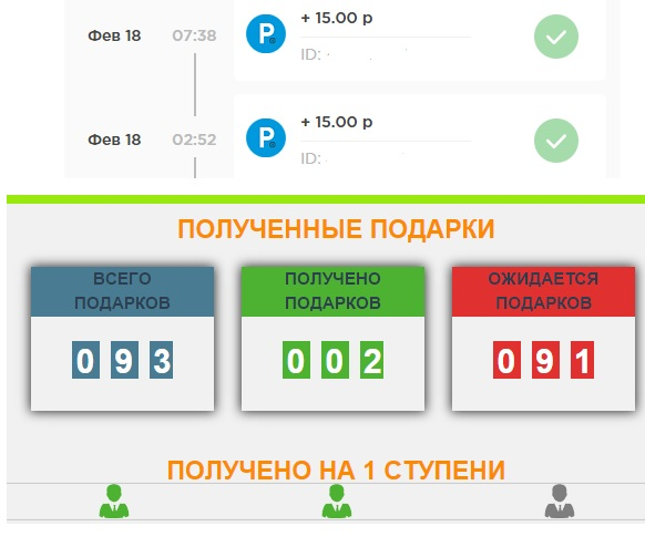 Выплаты на podarok - druga