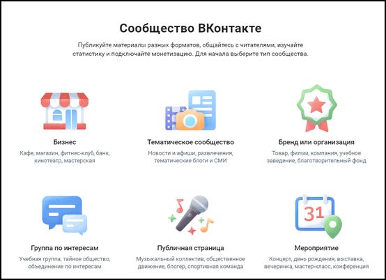 Типы сообщества Вконтакте