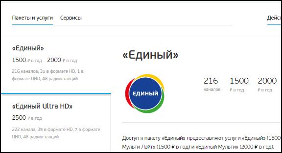Триколор ТВ пакет Единый