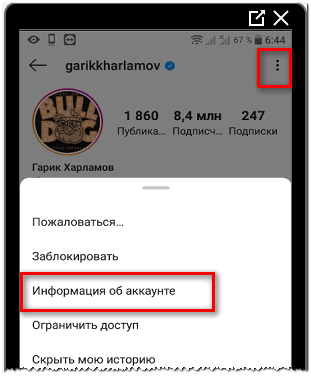 Информация об аккаунте в Инстаграме